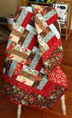 Rail Fence Lap Quilt, Baby Quilt, Wallhanging in Moda Double Chocolate Designer Fabric via Etsy