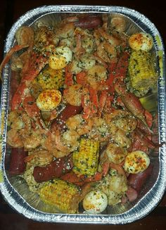 Do your usual crab boil. I start with potatoes first, remove them when tender, add corn, sausage crablegs in pot together bring back to a [. Seafood Boil Recipes, Seafood Boil Party, Seafood Dishes, Fish Recipes, Cajun Seafood Boil, Seafood Broil, Shrimp And Crab Boil, Crab Dishes, Seafood Bake