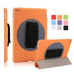 for ipad air 2 pu case 9.0inch pc+abs back cover magnetic auto sleep 360 degree handheld rotating fashionable