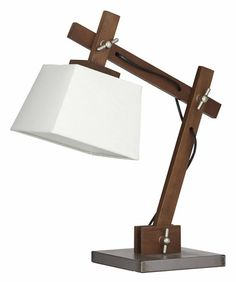Timber Desk Lamp: Scandi Dark Timber and linen Desk Lamp 52cm,Lighting