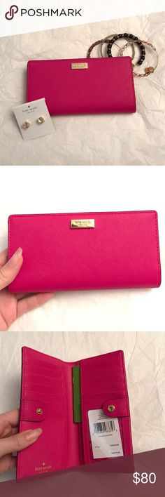 a96719f7e3e8 Kate Spade Leather Stacy Wallet Kate Spade Leather Stacy in Swthrtpink
