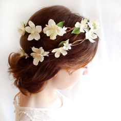 ivory flower head piece OPHELIA vintage country by thehoneycomb