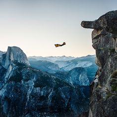 Dean Potter BASE jumping in @yosemitenps National Park in 2007.