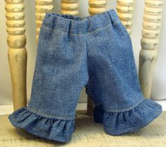 Ruffle Jeans for 12 or 13 inch Dolls by sistersdollclothes on Etsy, $7.00
