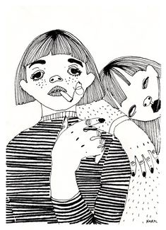 Simple line work using black ink. By Karolina Koryl Art Sketches, Art Drawings, Graphisches Design, Photocollage, Arte Horror, Art Graphique, Illustrations And Posters, Art Sketchbook, Cute Art