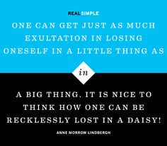 """One can get just as much exultation in losing oneself in a little thing as in a big thing. It is nice to think how one can be recklessly lost in a daisy!"" —Anne Morrow Lindbergh #quotes"