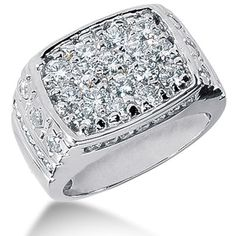 Round Brilliant Diamond Mens Ring in 14k white gold (2.68cttw, F-G Color, SI2 Clarity)