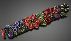 Folk Art Floral Cuff by Julie Powell: Beaded Bracelet available at www.artfulhome.com