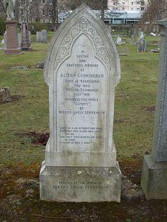 Grave of 'Cummy' the greatly loved Nanny to Robert Louis Stevenson . Robert Louis Stevenson, Film Base, Cemetery, Edinburgh, Scotland, Birth, Films, Photographs, Comic Books