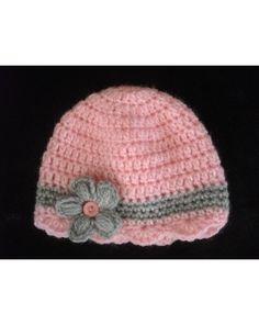 954facb60d8 bonnet bébé au crochet fait main coloris gris dominant fleur rose Plus