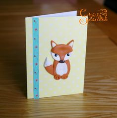 Fox+greeting+card+with+polymer+clay+fimo+fox+by+CertainlySplendid,+£5.00