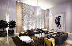 sala moderna com tijolinho