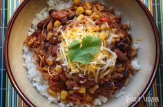 crockpot- chicken taco chili- black beans, cilantro, chili peppers, corn, cumin, onion, kidney beans, tomatoes w/chilies, chicken, taco seasoning, chili powder, tomato sauce