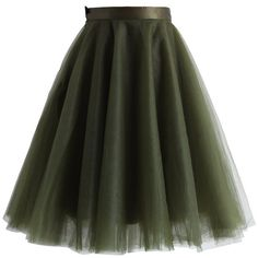 Chicwish Amore Mesh Tulle Skirt in Olive ($51) ❤ liked on Polyvore featuring skirts, green, olive skirt, army green skirt, tulle ballerina skirt, green skirt et flared skirt