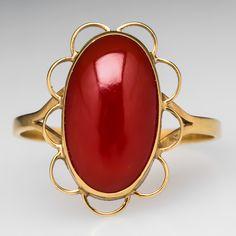 Vintage Red Coral Cabochon Ring w/ Scalloped Bezel 18K Gold Eragem