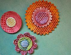 Wall Flowers - Pottery Bloom wall art- set of three multi-colored ceramic flowers for the wall