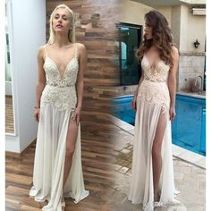 bca2056da9 49%OFF Long Sexy A-line V-Neck Sleeveless Backless Appliques Prom Dresses  2019 Open Back Chiffon – lolipromdress.com