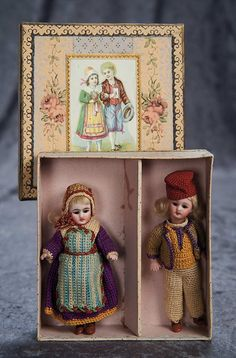 """""""Among Friends, The Billie and Paige Welker Collection"""": 10 Pair, German All-Bisque Black-Stocking Dolls in Original Costumes and Box"""