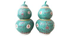 Superb Pair Of Turquoise  Glaze Porcelain Gourd-shaped lidded Vases   decorated in red with Chinese Calligraphy flowers etc....unsigned. 1980s