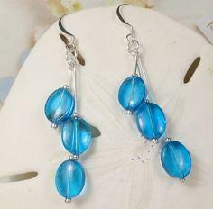 Blue glass ovals dangle earrings  blue triple ovals by beadwizzard, $6.00
