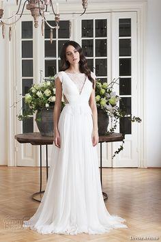 divine atelier 2016 bridal gowns cap sleeves v neckline with insert side cuts romanti a line wedding dress low back brush train (laris) mv -- Divine Atelier 2016 Wedding Dresses