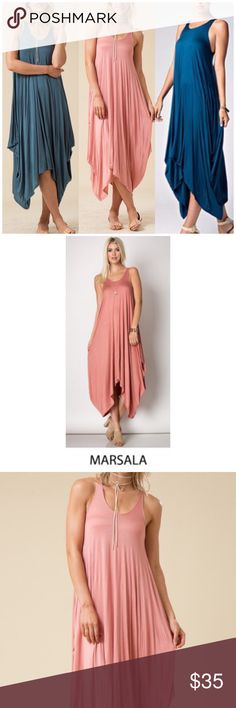 Marsala Sleeveless Harlem Dress Marsala Sleeveless Harlem Dress. 95% Rayon, 5% spandex. Fits true to size. Available in small medium and large. Available in Teal and Dusty Jade in my Closet   PRICE FIRM UNLESS BUNDLED Fabfindz Dresses Maxi