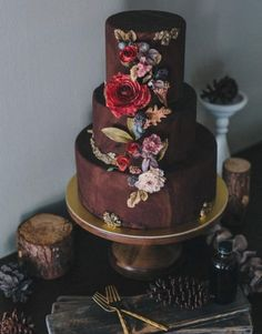 Rustic chic brown wedding cake with gorgeous wildflowers; Featured Cake: Winifred Kristé Cake