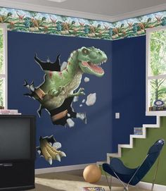 Boys Room with Dinosaurs Wall Mural Kids Bedroom Enhancement with Kids Wall Murals Decor. This is bought but I could perhaps project a simplified version somewhere in the room... it's a great idea!)