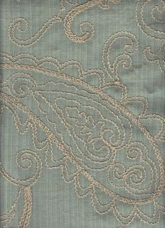 Crewel Sea       See Coordinating Patterns Below !!!     Absolutely gorgeous woven floral/vine pattern on a faded sea mist background with accents in beige. The distinctive detail in this great fabric creates that unique designer look. See how perfect it will accentuate your living space with a sample cut.     Pattern:         Crewel Sea     Fiber Content  84% poly, 16% cotton     Width             54 inc