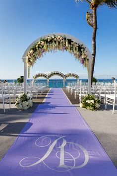 Bahamas Wedding, Beach Wedding, Purple Outdoor Ceremony, Purple Wedding Reception || Colin Cowie Weddings