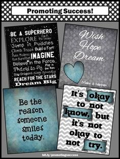 Superhero Theme Black Gray and Teal Classroom Decor Posters: These printable signs feature motivational quotes:    Be a Superhero...  It's okay to not know, but it's not okay to not try.  Wish Hope Dream Make it happen.  Be the reason someone smiles today.    They work well for any age, including special education and school counseling.    You will receive FOUR printable posters as a JPEG and PDF zipped file.