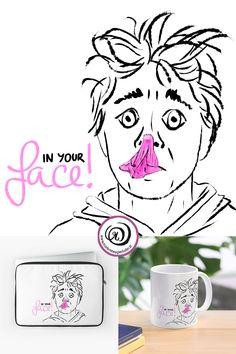 'In your face! bubble gum' by Marlene Wagenhofer Simple Illustration, Funny Illustration, Illustrations, Burst Bubble, Bubble Gum, Bubble Drawing, Chewing Gum, Canvas Prints, Art Prints