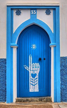 Blue door Sidi Ifni, Morocco