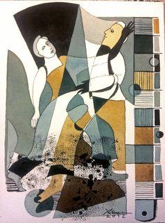 Obra da artista Rosalia Lerner     aquarela 31cm