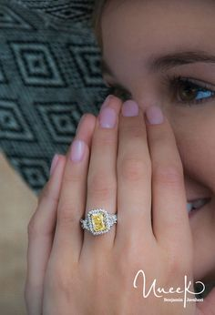 Uneek Fine Jewelry - Fancy Yellow Diamond Radiant-Center Three-Stone Engagement Ring with Pave Double Shank, in 14K White Gold. Handcrafted in Los Angeles, CA || Style # LVS983RADFY - UneekJewelry.com