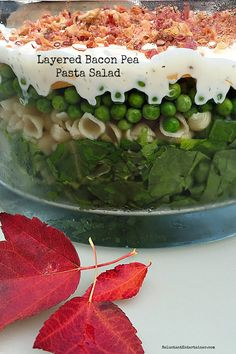 Layered Bacon Pea Pasta Salad | ReluctantEntertainer.com