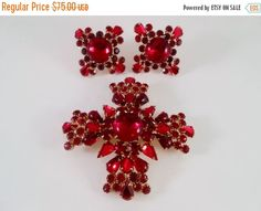 Ruby Red Cabochon Cross Brooch Pendant and Clip Earrings via Libbysmomsvintage.