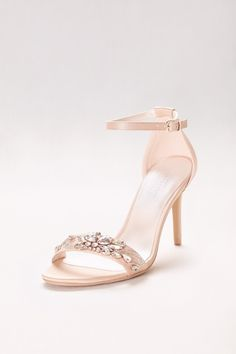 7f41dc421bd26 Jeweled Strappy Nude Prom Heels by David s Bridal Davids Bridal Shoes