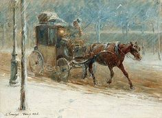Artwork by Nils Kreuger, Boulevard scene with horse and coach in winter, Made of Paper-panel