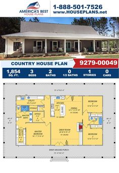 Get to know this one-story Country design featured by 1,854 sq. ft., 3 bedrooms, 2 bathrooms, a wrap around porch, an office area, and the split bedroom layout. Visit our website for more details about this design.
