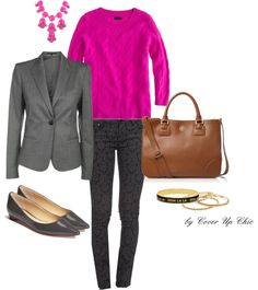 """Casual Suiting OOTD: Shades of Grey and Berry Tones"" by cover-up-chic on Polyvore"