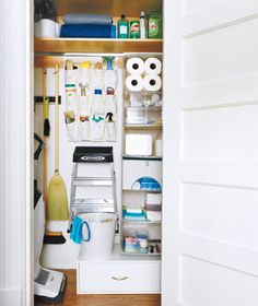 9 Tricks for Organizing a Small Space - utility cupboard. Link to slideshow with loads of ideas & suggestions.
