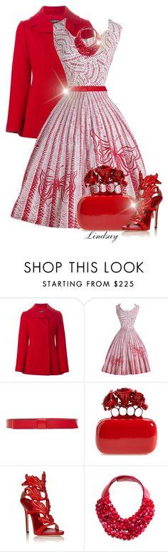 """1950s Red Butterfly Cotton Dress"" by lindsayd78 ❤ liked on Polyvore featuring moda, Dolce&Gabbana, Marni, Alexander McQueen, Giuseppe Zanotti i Fairchild Baldwin"