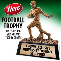 Love Football Season? Score Big With Our New University Football Sculpture! This #FootballTrophy is a Great #FootballAward for Any Team!  https://www.crownawards.com/StoreFront/CRUFT10.ALL.Trophies.University_Football_Sculpture.prod