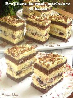 Prajitura cu nuci, merisoare si bezea Romanian Desserts, Romanian Food, Sweets Recipes, Cake Recipes, Cooking Recipes, Cheesecakes, Sweet Treats, Food And Drink, Yummy Food