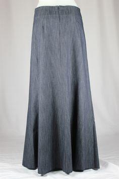 Simple Panels Blue Long Jean Skirt, Sizes 6-20