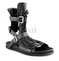 c89303d6a4e Punk New Mens Boots Lace Up Buckle Knight Gladiator Leather High Top Roma  Sandal Winter Chelsea