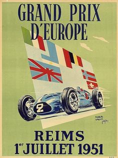 Circuit de Reims - Gueux -Poster of the 1951 Grand Prix d'Europe at Reims © M. Gaglio & J. des Gachons.