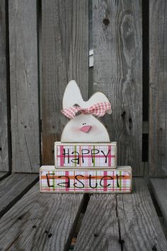 Happy Easter Spring Bunny Stacker Wood Block Set spring holiday seasonal home decor easter egg bunny gift. $20.00, via Etsy.