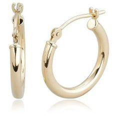 """Duragold 14k Yellow Gold 2mm Round Hoop Earrings, (0.59"""" Diameter).  List Price: $130.00  Savings: $71.00 (55%)"""